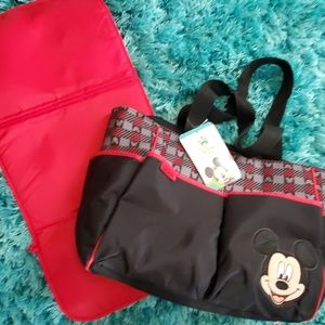 nwt Disney baby Mickey mouse diaper bag black red